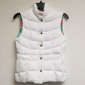 Lilly Pulitzer White Zip/Button Snaps Quilted Vest